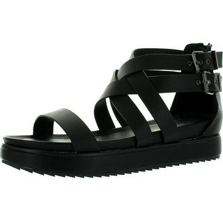 Nature Breeze Gorgeous-02 Women Leatherette Open Toe Strappy Flatform Flat Sandals - Black