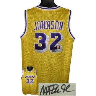 Magic Johnson signed Los Angeles Lakers Yellow Adidas Swingman Jersey black  sig Beckett Hologram