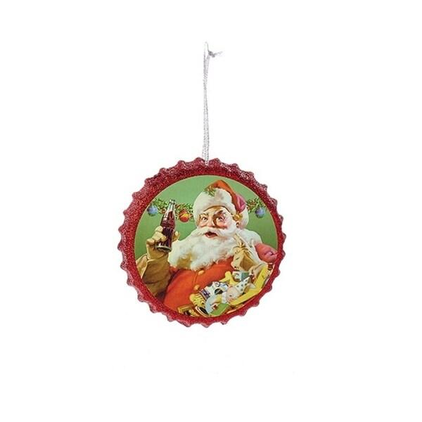 "4.25"" Red Coca Cola Santa and Presents Bottle Cap Glitter Christmas Ornament"
