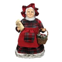"""16"""" Country Rustic Mrs. Claus in Red Checkered Dress Holding a Basket and Gift Christmas Figure"""