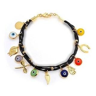 Bling Jewelry Gold Plated 925 Silver Black Leather Multi Evil Eye Bracelet
