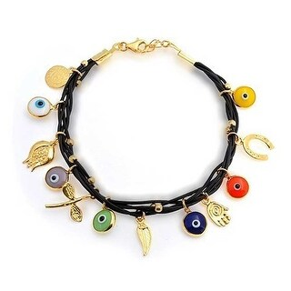 Bling Jewelry Gold Plated 925 Silver Black Leather Multi Evil Eye Bracelet