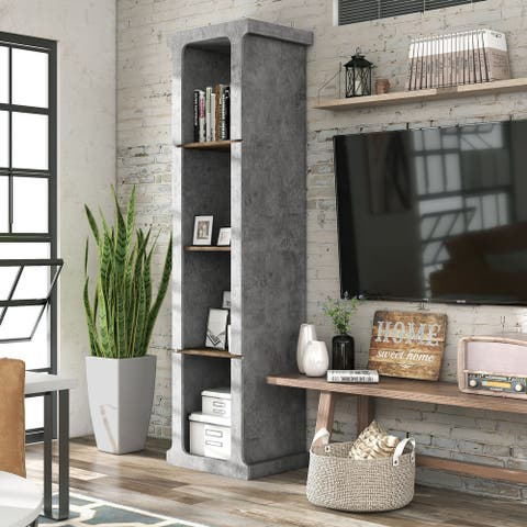 Todd Cement Grey Urban 4-Shelved Compact TV Tower