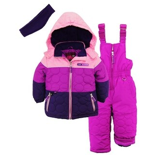 Pink Platinum Little Girls Snowsuit Quilted Jacket Snowboard Suit Ski Bib