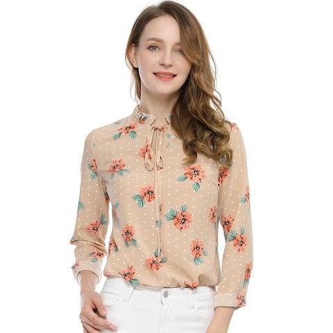 Women's Tie Ruffled Neckline Polka Dots Floral Blouse Tops