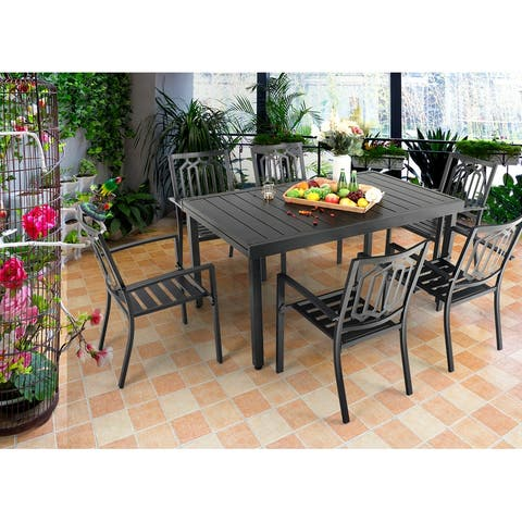 MFSTUDIO 7/9 PCS Outdoor Patio Dining Set, 6/8 Steel Stackable Chairs, 1 Rectangular Expandable Table