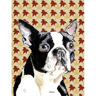 40 x 40 In. Boston Terrier Fall Leaves Portrait Flag Canvas,