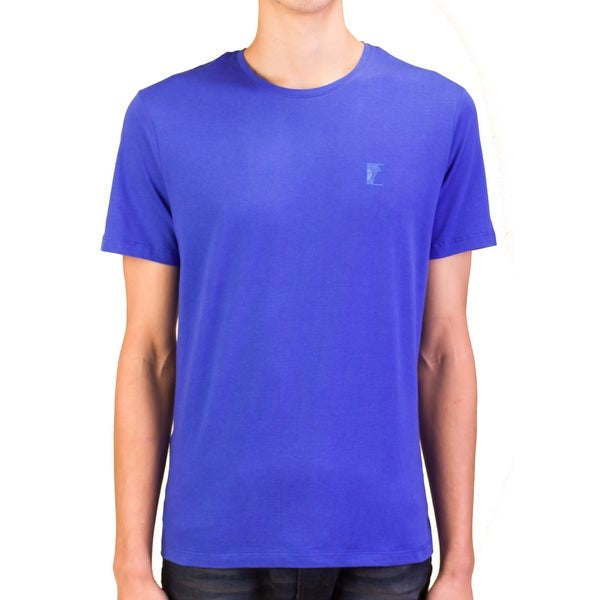 Versace Collection Men Medusa Logo Crew Neck T-Shirt Blue