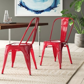 Link to BELLEZE Set of 4 High Backrest Stackable Chairs, Red Similar Items in Patio Dining Chairs
