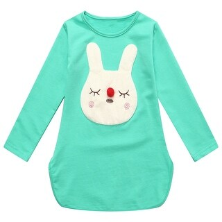 Richie House Girls' Long Sleeve T-shirt with Rabbit Head at Front and Round Bottom