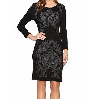 Laundry by Shelli Segal NEW Black Womens Large L Printed Sweater Dress