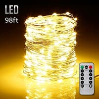 98ft 300LEDs Fairy String Lights Dimmable with Remote Control Warm White