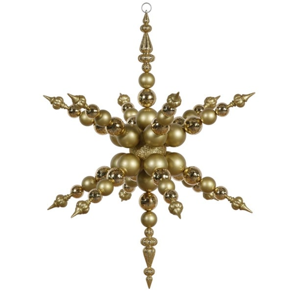 "43"" Gold Radical 3-D Snowflake Commercial Shatterproof Christmas Ornament"