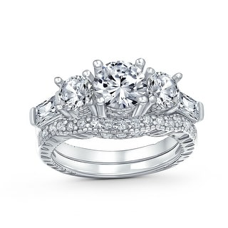 Link to 3 CT Solitaire 3 Stone CZ Engagement Wedding Ring 925 Sterling Silver Similar Items in Rings
