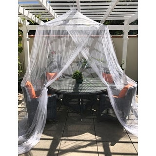 Just Relax Indoor-Outdoor Extra-Large Round Canopy Mosquito Net, White, 5x9 Feet