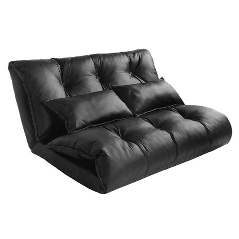 Merax Adjustable Foldable Floor Sofa with Two Pillows
