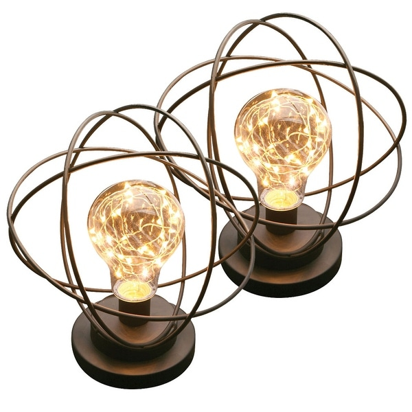 Atomic Age Wireless LED Metal Accent Lamp - Set Of 2