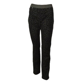 INC International Concepts Women's Animal Velour Jeggings - Black