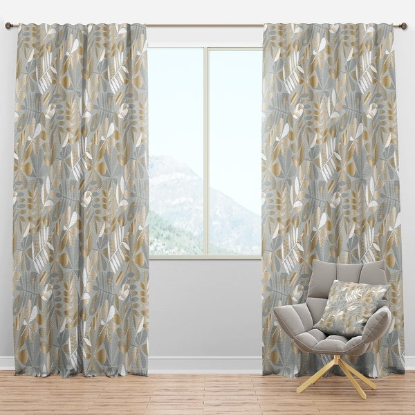 Designart 'Golden Tropical Pattern VIII' Mid-Century Modern Blackout Curtain Panel. Opens flyout.
