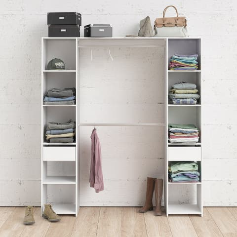 Porch & Den Camino White 10-shelf and 2-drawer Wardrobe