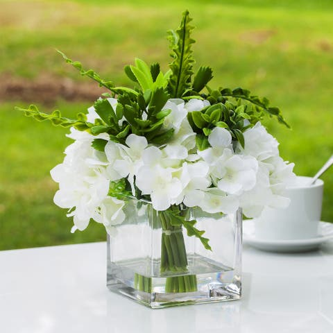 Enova Home Artificial Silk Hydrangea Mixed with Greenery Plants Fake Flowers Arrangement in Cube Glass Vase with Faux Water