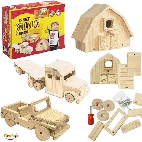 Kraftic Woodworking Building Kit for Kids and Adults, with 3 Educational DIY Carpentry Construction Wood Model Kit