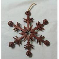 "11.5"" Country Cabin 6-Point Red Metal Christmas Star Ornament with Jingle Bells"