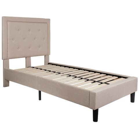 81 inch  Roxbury Beige Fabric Twin Size Tufted Upholstered Platform Bed