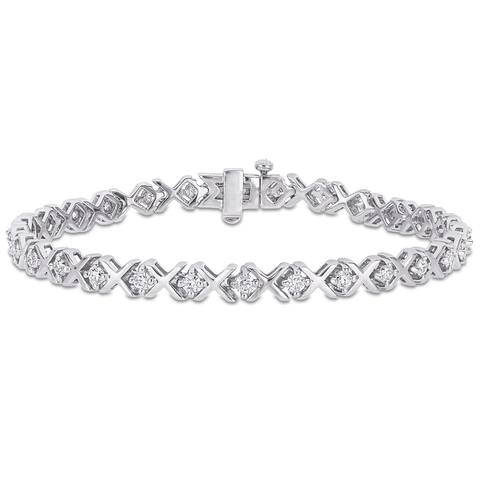 Miadora 1 3/4ct DEW Moissanite XO Tennis Bracelet in Sterling Silver - 7.25 in x 5 mm x 3 mm