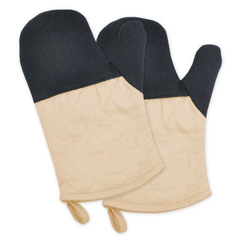 """Set of 2 Ivory and Black Heat Resistant Neoprene Ovenmitts with Rubber Shell 11.25"""" - N/A"""