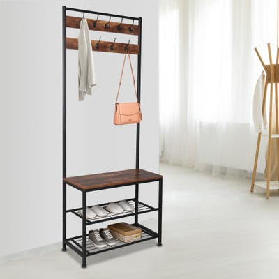 Industrial Metal Frame Hall Tree With 2-Shelf Shoe Storage-Rustic Brown