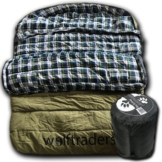 Wolftraders TwoWolves -30 Degree Fahrenheit 2-Person Premium Canvas Sleeping Bag, Green/Blue
