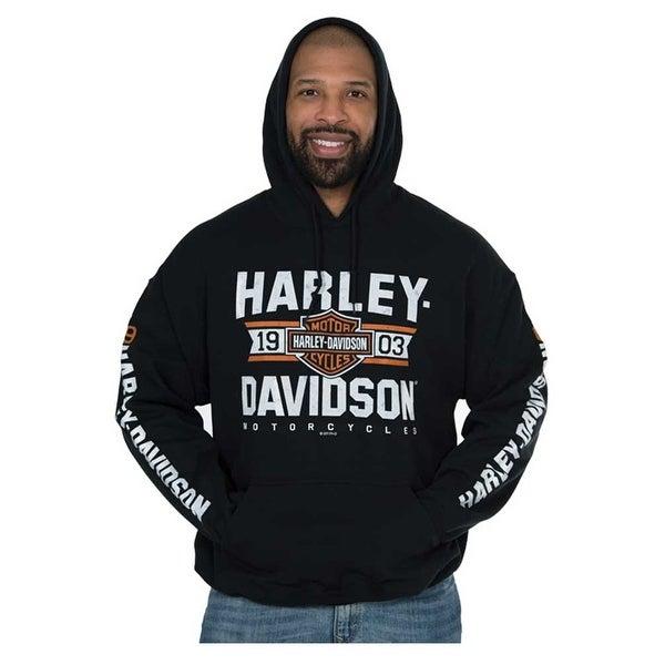 c31eeb3311 Harley-Davidson Men  x27 s Distressed Varsity Pullover Hooded Sweatshirt