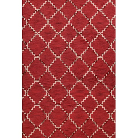 """Contemporary Trellis Oriental Red Area Rug Hand-tufted Wool Carpet - 9'0"""" x 12'0"""""""
