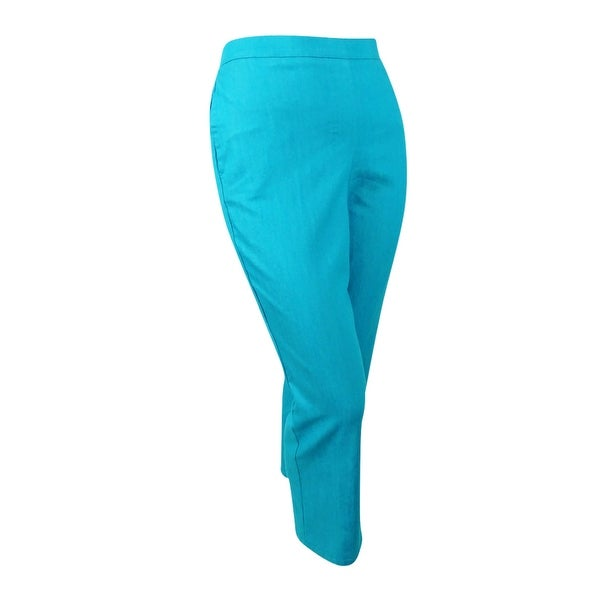 be3f7352ea2 Shop Alfred Dunner Women s Plus Scenic Route Straight Leg Pants - turquoise  - On Sale - Free Shipping On Orders Over  45 - Overstock.com - 20249492
