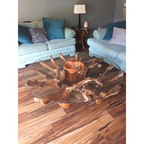 Chic Teak Rustic Teak Wood Root Coffee Table Including 55 Inch Round Glass Top