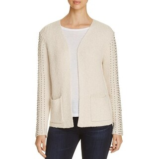 Three Dots Womens Cardigan Sweater Ribbed Knit Embellished
