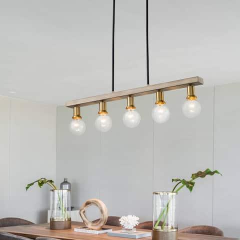 5-Light Woodgrain Finish Kitchen Island Pendant Light - 5 Light
