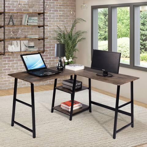 Carbon Loft Industrial L-shaped Corner Computer Desk with Shelf