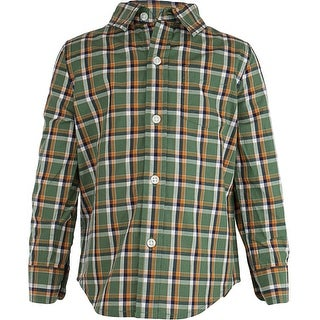 Boys Dress 1T in Green and Cream Homespun Plaid 12 to 24 months