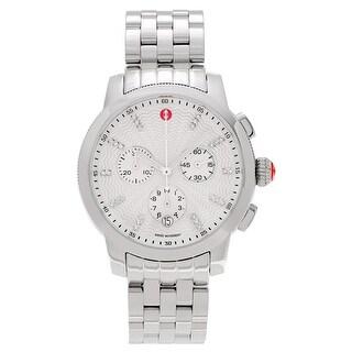 Michele Women's 'Uptown' MWW25A000001 Stainless Steel 1/8 CT TDW Diamond Link Watch - Silver