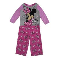 Disney Little Girls Gray Pink Minnie Mouse Bow Print 2 Pc Pajama Set