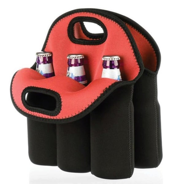 """Pack of 2 Black and Red Six Pack Protective Bottle Carrier 10.5"""" - N/A"""