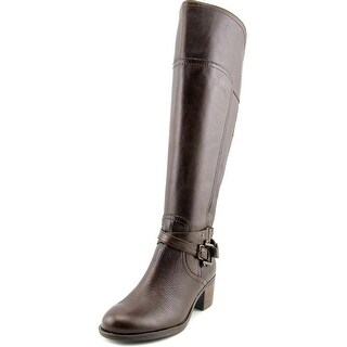 Marc Fisher Kacee Wide Calf Women Round Toe Leather Brown Knee High Boot