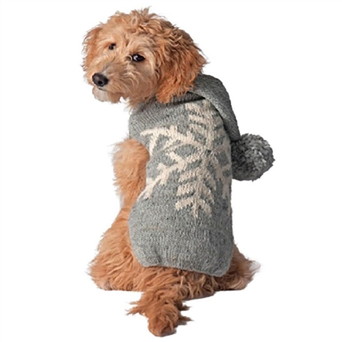 Handmade Alpaca Snowflake Dog Sweater Hoodie - Gray (Gray - X-Large)