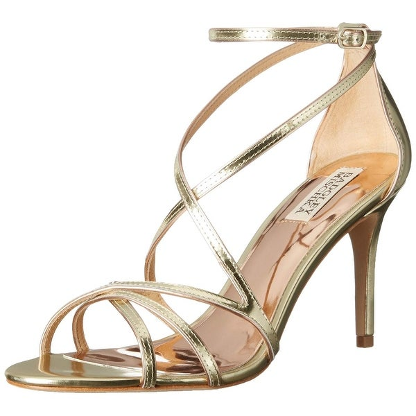 BADGLEY MISCHKA Womens Lillian Leather Open Toe Casual Strappy Sandals - platinum met - 8.5