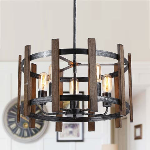 Distressed Metal 5-Light Wood Drum Chandelier