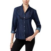 Guess Womens Button-Down Top Chambray Ruffled