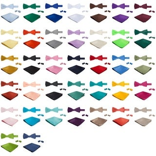 Jacob Alexander Solid Color Men's Bowtie Hanky and Cufflink Set - One size