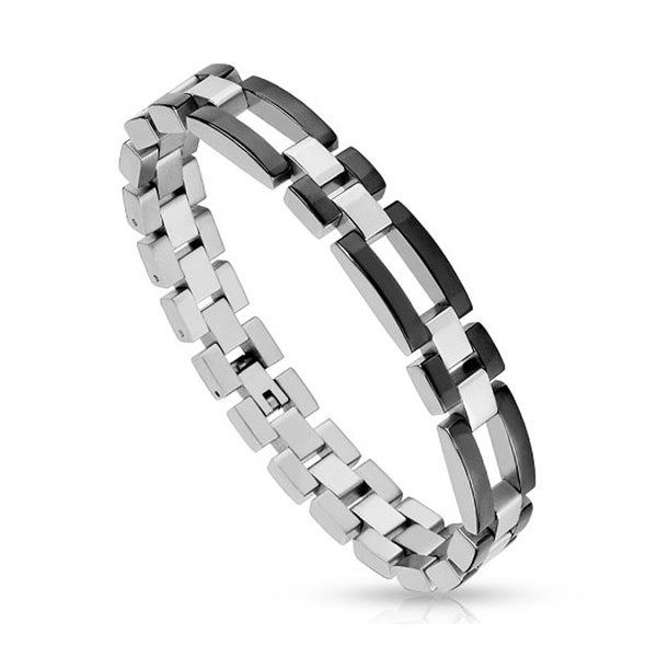 Two Toned Stainless Steel Black IP Bracelet with Hollow Rectangle Links (12 mm) - 8.5 in